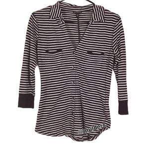 Express Striped Button Up Blouse